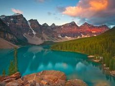 Probably one of the most beautiful places on earth, Lake Moraine, Alberta, Canada. Picture from Webshots.