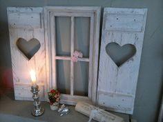 SET Sprossenfenster+ Fensterladen Fotorahmen  shabby-Landhaus Unikat Holz