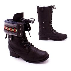 fair isle cuffed combat boot ($27) ❤ liked on Polyvore featuring shoes, boots, ankle booties, cuffed boots, lace up ankle booties, military lace up boots, combat booties and faux suede lace-up booties