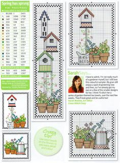 <3 Birdhouses and Gardening (cross stitch)