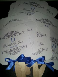 Royal blue wedding fan... Can we get these with the program on the back?!  Keywords: #royalblueweddings #jevelweddingplanning Follow Us: www.jevelweddingplanning.com  www.facebook.com/jevelweddingplanning/