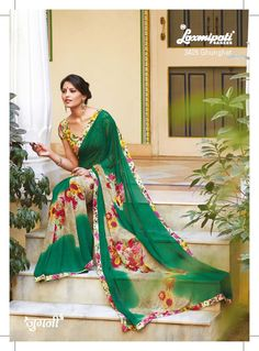 On the green base, the middle portion is decorated with the floral prints. The printed lace and blouse are perfectly suit to this saree.