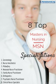 Earning an MSN can really give you an edge over other nurses. These 8 Top Masters in Nursing MSN Specializations are in demand and well paid. Nurse Practitioner Education, Psychiatric Nurse Practitioner, Psychiatric Nursing, Nurse Anesthetist, Medical Assistant, Masters Degree In Nursing, Nursing Degree, Nursing Career, School Nursing