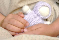 Baby Doll Rattle, Waldorf style, hand knit, for ages 0-3, Lavender Girl Dolly