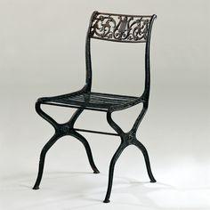 Designer: Karl Friedrich Schinkel Piece: Garden Chair Design: 1820 - 5 Production: unknown Manufacturer: presumably the Königliche Eisengießerei Saynerhütte Size: 86 x 46 x 54; seat height 43.5 cms Material: cast iron, wrought-iron rods