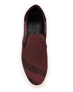 Burberry Copford Canvas Check   Leather Slip-On Sneaker 45a607a4da81