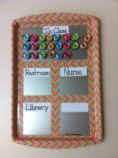 "A metal tray and magnets serve as a ""Where Are We?"" chart. 