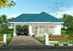 Casa blanca techo azul
