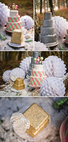LOVE the idea of using several different style cakes!