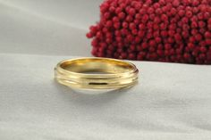 14k Wedding Band,Handmade Wedding Rings, GOLD RING 14K, texture Ring, 4mm Wide Gold Ring, 14k solid Gold Ring, Mens Wedding Ring,weddings by LIRANSHANI on Etsy