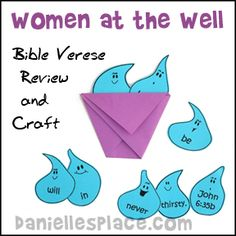 Bible Craft for Children's Sunday School Lessons The Woman at the Well - Bible Verse Review Game and Craft from www.daniellesplace.com