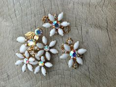 Vintage Beau Jewels white flower and crystal by LunchLadyVintage, $48.00