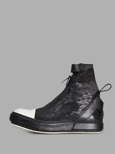 ARTSELAB MEN'S BLACK HIGH TOP SNEAKERS - BLACK - WOVEN - ZIP CLOSURE - WHITE TOE - 100% LEATHER - MADE IN ITALY