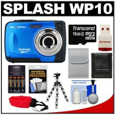 Bell & Howell Splash WP10 Shock & Waterproof Digital Camera (Blue) with 16GB Card/Reader + Case + Batteries/Charger + Tripod + Accessory Kit by Bell + Howell. $89.95. Kit includes:♦ 1) Bell & Howell Splash WP10 Shock & Waterproof Digital Camera (Blue)♦ 2) Power2000 XP350-(4) AAA NiMH Rechargeable Batteries & 110/220V Rapid Charger♦ 3) Transcend 16GB microSDHC Class 4 Card with Card Reader♦ 4) Precision Design PD-T12 Flexible Compact Camera Mini Tripod♦ 5) P...
