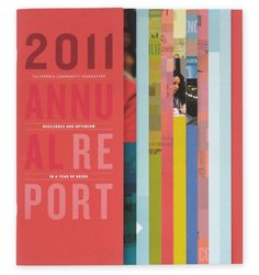 printed annual report with layers