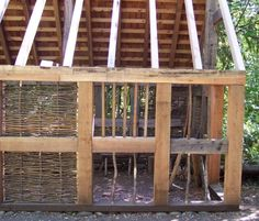 A gentleman is building this house using only medieval tools, construction techniques and materiels. Wattle and daub walls