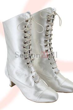 Elegant Satin Upper Thick Heel Closed Toe with Rivet Wedding Shoes MB-039