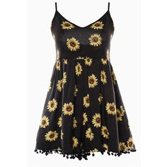 Cupshe Lazy Day Sunflower Printing Romper ❤ liked on Polyvore featuring jumpsuits, rompers, v neck romper, spaghetti strap romper and playsuit romper