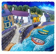 Landscape Paintings and photographs : PARROG TREFDRAETH. I paint and draw in various media and my images are sourced Landscape Art, Landscape Paintings, Jig Saw, Seaside Art, Naive Art, Print Artist, Banksy, Belle Photo, Painting Inspiration