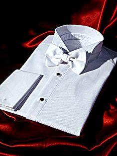 Chemise 1900 Ceremonie Blanche A PLASTRON et à Poignets REVERS en pique de coton.