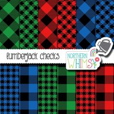 Lumberjack Digital Paper Pack – buffalo checks in red, blue, and green with black – buffalo plaid gingham – lumbersexual - commercial use Pattern Paper, Fabric Patterns, Clothing Patterns, Buffalo Check Fabric, Plaid Wallpaper, Plaid Crochet, Fabric Wreath, Digital Scrapbooking Layouts, Barn Quilts