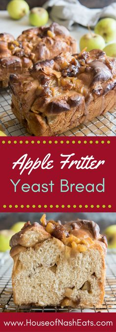 Apple Fritter Yeast Bread is soft, glazed apple & cinnamon sweet bread that tastes just like a sliceable apple fritter, except it gets baked in the oven in a bread pan instead of deep fried! It's one of our favorite things that we look forward to each Fall when apple season begins. #AppleWeek