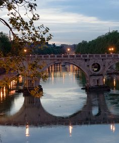 Sunset over Tevere River and Ponte Sisto, Rome Italy