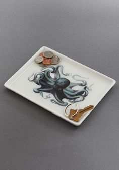 $1 Thalassic Park Tray in Octopus - Multi, Blue, Nautical, Dorm Decor, Quirky