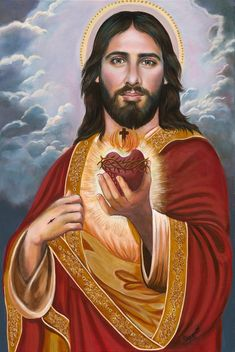 Sacred Heart of Jesus (C) Savior Christ, X and X Prints on White Card Stock, taken from my Original OOAK Catholic Art, signed Catholic Pictures, Church Pictures, Pictures Of Jesus Christ, Heart Of Jesus, Jesus Is Lord, King Jesus, Catholic Art, Religious Art, Paintings Of Christ