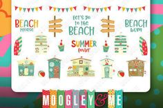 Summer Beach Planner Stickers for your Horizontal or Vertical Erin Condren Life Planner, Happy Planner, or any daily planner! by MoogleyandMe on Etsy