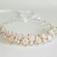 Flower Bridal TiaraWedding HeadpieceRoses CrownPearls by CyShell Flower Girl Headpiece, Flower Girl Headbands, Headpiece Wedding, Bridal Tiara, Bridal Headpieces, Bridal Updo, Flower Crowns, Hair Jewelry, Bridal Jewelry