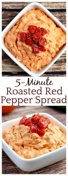 All it takes is 5 ingredients and 5 minutes to make this very versatile Roasted Red Pepper Spread! Great on sandwiches, crackers, or as a dip! Vegetarian and Gluten Free!