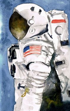 An astronaut in watercolour. I like this very much – it was fun to paint and a bit different from the usual landscapes etc. Sadly from a photograph as I don't know any real astro…