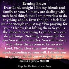 "Yes and Amen! ""And the Lord restored all of Job's losses when he prayed for his friends. Good Night Prayer, Joyce Meyer Ministries, Yes And Amen, Proverbs 31 Ministries, Evening Prayer, Religious Pictures, Faith In Love, Inspiring Things, Dear Lord"