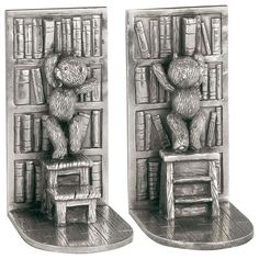 Royal Selangor Teddy Bear's Picnic Collection Pewter Library Book Ends Gift for sale online Rabbit Life, Silver Gifts, Library Books, S Pic, New Baby Gifts, Cool Gifts, Childrens Books, Pewter, Bookends