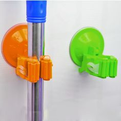 Mop And Broom Wall Suction Cup Garage Kitchen Organizer Tool Rack Hanger Holder #Unbranded