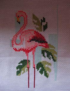 Embroidery Art, Cross Stitch Embroidery, Embroidery Designs, Needlepoint Designs, Needlepoint Canvases, Palestinian Embroidery, Flamingo Bird, Cross Stitch Bird, Canvas Designs