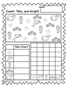 Ocean/Under the Sea math activity.  Perfect for Pre-K/ Preschool, Transitional Kindergarten, and Kindergarten. Kiddos count sea creatures, then tally and graph!