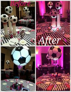 Bit too Bat Mitzvah like but like the idea Soccer Birthday Parties, Sports Birthday, Sports Party, Grad Parties, Camping Parties, Mouse Parties, Soccer Decor, Soccer Theme, Football Decor