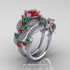 Nature Classic 14K White Gold 1.0 Ct Ruby Emerald Leaf and Vine Engagement Ring Wedding Band Set R340SS-14KWGEMR | Art Masters Jewelry