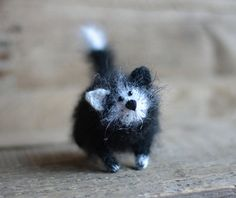 Zwarte kat gevulde dieren katten handgemaakte vilten kawaii zwart-witte kat…