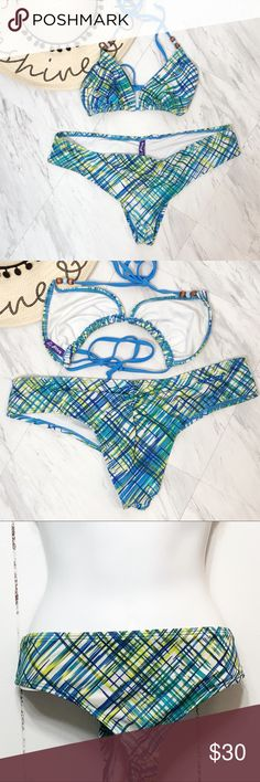 a31cdf7473 Reef Blue Plaid Two Piece Bikini Reef Blue Plaid Two Piece Bikini: bead  accents on