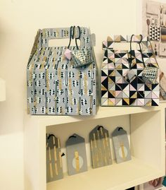 Geometric printed gift bags and tags
