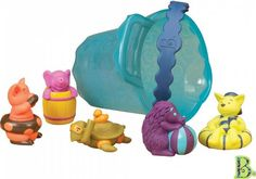 Bath time can be playtime with this set of adorable animal toys in tow! Little ones can squeeze and squirt the bright toys at the beach, pool or bath for tons of aquatic fun. Pet Toys, Baby Toys, Best Bath Toys, Swimming Gear, Water Toys, Preschool Toys, Baby Games, Imaginative Play, Bath Time