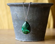 Emerald. Green Azurite Teardrop Pendant necklace with Silver Chain