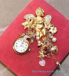 Kirks Folly Fairy Watch Pin Charms Stars Crystal Gold Pin