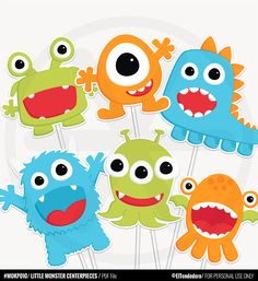 Little Monster Centerpieces - Funny Little Monster Birthday Decorations. Table Decor - Party Centerpieces - Kids Party - Printable PDF by eltendedero on Etsy https://www.etsy.com/listing/487811153/little-monster-centerpieces-funny-little