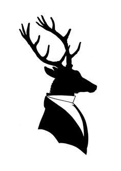 Silhouette Deer Gentleman Antler Victorian by emporiumshop on Etsy