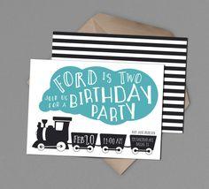 Train Birthday Party Invitation Boy 2nd Birthday Party Invite