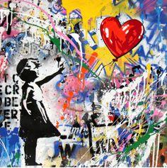 Brainwash – Balloon Girl x - Mr. Brainwash – Balloon Girl x Mr. Brainwash – Balloon Girl x Street Art Banksy, Banksy Graffiti, Graffiti Wall Art, Graffiti Drawing, Art Drawings, Bansky, Arte Pop, Mr Brainwash Art, Tableau Pop Art